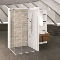 EKU-BANIO is the premiere sliding solution for upscale all-glass showers. EKU-BANIO moves up to 40 kg glass doors in recessed spaces or for corner solutions. Glass Shower, Glass Door, Divider, Doors, Furniture, Home Decor, Homemade Home Decor, Home Furnishings, Decoration Home