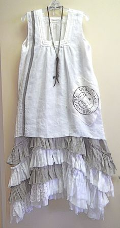 white linen Bodil French Postmark Tank over the Tina Givens natural/off-white Selena Strap Dress/Kati Koos Moda Hippie Chic, Boho Chic, Shabby Chic, Bohemian, Boho Fashion, Girl Fashion, Womens Fashion, Marla Singer, Boho Outfits