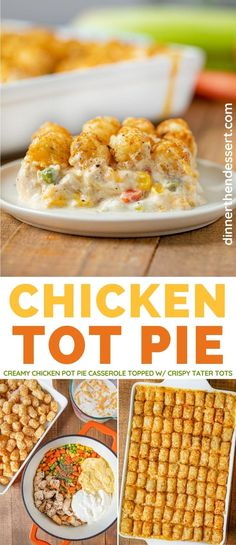 Chicken Tot Pie is an easy fun twist on classic pot pie topped with crispy tater tots! I Love Food, Good Food, Yummy Food, Tater Tot Hotdish, Best Tater Tot Casserole, Comfort Food, Casserole Recipes, Hamburger Casserole, Chicken