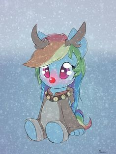 Rainbow Dash  as  Rudolph  (and she has a paw on her left forelimb, which is odd since neither ponies nor reindeer have paws)