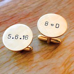 Personalized Cuff Links Copper Brass Gold Tone Custom Cuff