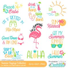 Summer Sayings SVG Files Bundle - Summer sentiments digital cutting files for Silhouette Cameo, Cricut. Summer phrases SVG Files & Clipart Set for crafters Vinyl Crafts, Vinyl Projects, Summer Quotes, Summer Sayings, Free Font Design, Summer Phrases, Free Svg, Boat Names, Affinity Designer