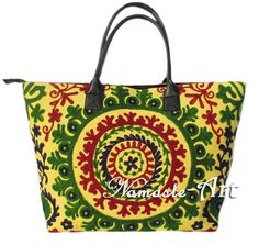 Indian Cotton Tote Shoulder Embroidery Suzani Handbag Woman Beach Boho Bag  jk28 #Unbranded #TotesShoppers