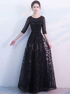 Dresses | Prom Dresses | Stylish Black Half Sleeve Bowknot Evening Dress