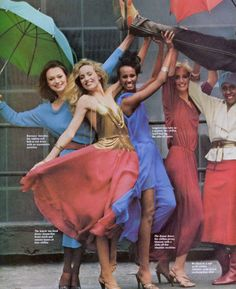 "Vogue US September 1977  ""We Like Their Style""  Models: Jerry Hall, Iman, Pat Cleveland & Unknowns (with designer Stephen Burrows)  Photographer: Oliviero Toscani"