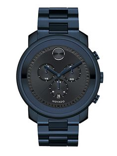 Movado - Bold Collection Ink IP Stainless Steel Chronograph Bracelet Watch