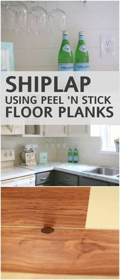 create the look of shiplap using peel and stick vinyl flooring!!