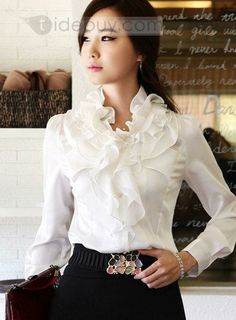 Highlights Falbala Long Sleeves Chiffon Blouse Lovely All-matched Blouse Cute Blouses, Blouses For Women, Venus Swimwear, Mix And Match Bikini, Classic Wardrobe, Sexy Blouse, Satin Blouses, Beautiful Blouses, Office Outfits