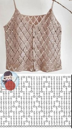 Débardeurs Au Crochet, Gilet Crochet, Crochet Shirt, Crochet Diagram, Crochet Woman, Crochet Stitches, Free Crochet, Knitting Patterns, Crochet Patterns