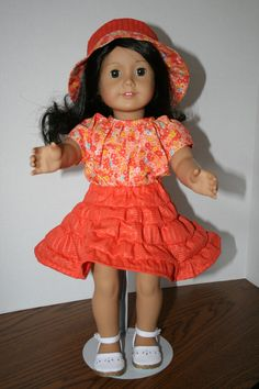 American+Girl+Doll+ClothesOrange+Print+Outfit+by+KathiesDollCloset,+$10.99