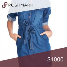 """Denim Dark Wash Shirt Dress w/ Belt A MUST HAVE PIECE! The shirt dress is having a major moment, and denim is for all seasons! This piece features a tie belt, full button front, side slits (5"""") and pockets. Each garment is unique, yours may show slight variations in color to the pics shown. Small: Bust 18"""", Waist 17"""", Length 36"""". Medium: Bust 19"""", Waist 18"""", Length 37"""". Large: Bust 20"""", Waist 19"""", Length 38"""", X-Large: Bust 21"""", Waist 20"""", Length 39"""". Recommend: S 4-6, M 8-10, L 12-14, XL…"""