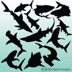 12 Shark Silhouette Digital Clipart Images by OMGDIGITALDESIGNS