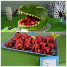 T-rex watermelon carving and volcanic cupcakes for dinosaur themed birthday party
