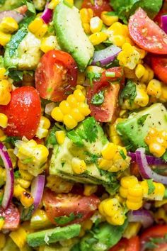 This Fresh Corn Salad Is A Bright And Feel Good Salad Thats Loaded With Fresh Corn, Creamy Avocado, Cherry Tomatoes And The Dressing Gives It Amazing Fresh Flavor. This Is A Crowd Pleasing Summer Corn Salad That Always Dissapears Fast Natashaskitchen. Corn Salad Recipe Easy, Corn Salad Recipes, Corn Salads, Fresh Corn Recipes, Fresh Salad Recipes, Mexican Salad Recipes, Vegetable Salads, Fresh Corn Salad, Summer Corn Salad