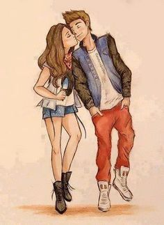 Carricature of Justin and Selena