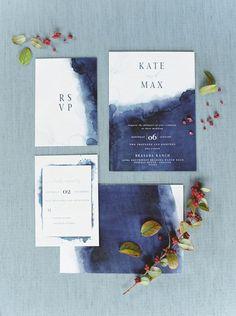 watercolor navy indigo and white wedding invitations with blue letters, Watercolor wedding invitation suite, printable invitations