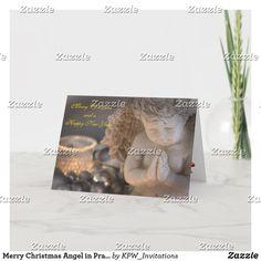 Merry Christmas Angel in Prayer Scene Holiday Card