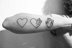 cartoon to realistic heart tattoo