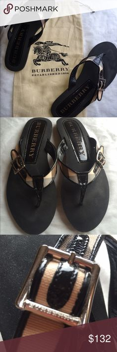 BURBERRY Black Patent and Nova Check Thong Sandals Gorgeous  Authentic BURBERRY Black Patent and Nova Check Thong Sandals with Silver Buckle on side with dustbag included.  Size 40 (which is a 9).  Made in Italy.  I wore these a few times but still in good condition!! Thanks for looking! Burberry Shoes Sandals