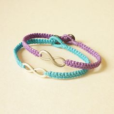 Get 10 OFF  Set of 2  Blue and Purple Silver Infinity by HipCrafts, $21.58