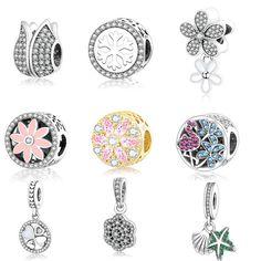 925 En Argent Sterling Perles Lumineux Floral Ajouré Charme Balancent Convient Pandora Original Charmes Bracelet pour Femmes BRICOLAGE Berloque