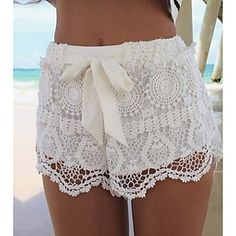 Shorts ( Renda ) MULHERES - Sexy/Pesta Sem Mangas – USD $ 11.99