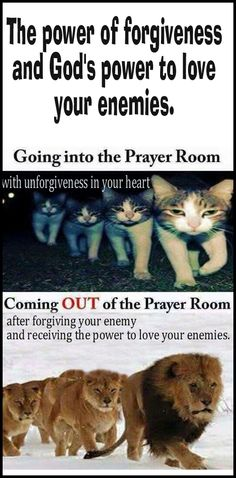Going into the prayer room with unforgiveness, leaving the prayer room after forgiving your enemy and receiving the power to love your enemies.  God gives us commandments as a map to follow Jesus - as He overcame the world.  The power to forgive and to love your enemies is a free gift from God given to all who ask for it.