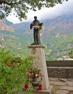 Statue of St. Francis in Positano, Italy