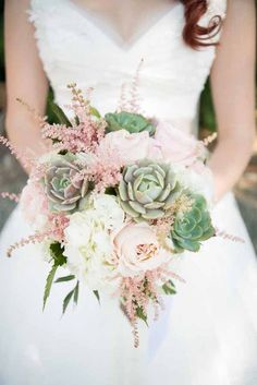 BRIDE Jen's Blossoms Jon & Moch Photography, bridal bouquet with succulents, astilbe and roses Astilbe Bouquet, Succulent Bouquet, Wedding Bouquets With Succulents, Succulent Boutonniere, Succulent Ideas, Boquet, Spring Wedding Bouquets, Bride Bouquets, Peony Bouquet Wedding