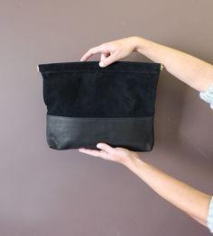 Suede & Leather Clutch, LARGE, Black Crossbody Leather Handbag, Evening Clutch or Wedding Clutch; IBIS CLUTCH- Large- Black- by Awl Snap