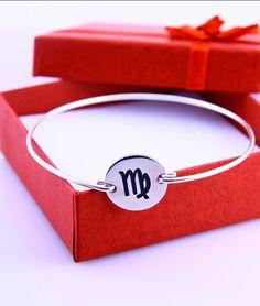 VIRGO Zodiac Silver Bracelet ,constellation Charm Bangle,Silver Jewelry ,Custom Gift for Women (VIRGO)