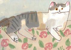 A record of living things by ryoji nakajima, via behance Cute Illustration, Graphic Design Illustration, Animal Art Projects, Kitsch, Japanese Prints, Crazy Cats, Cat Art, Illustrators, Artsy