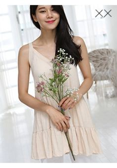 Cotton Buttoned Tiered Dress - Dresses - Clothing - Genuine Korean style fashion from Korea