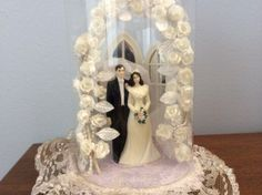 Vintage Wedding Cake Topper with Glass Dome by TillyFritz on Etsy, $29.99