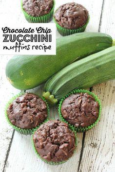 chocolate chip zucchini muffins recipe! easy breakfast idea and snack recipes!                                                                                                                                                                                 More