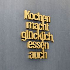 Buchstaben & Schriftzüge - 3D Schriftzug: Kochen macht glücklich, essen auch - ein Designerstück von NOGALLERY bei DaWanda