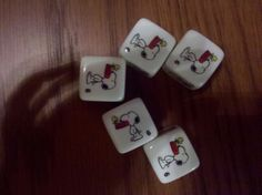 From my Peanuts Yahtzee set, I actually rolled a Yahtzee on one roll! Only time I think I have ever done that!
