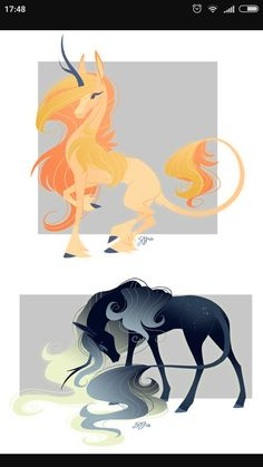 - Both Sold by probablyfakeblonde : Celestial Unicorn Adoptables! - Both Sold by probablyfakeblonde Mythical Creatures Art, Mythological Creatures, Magical Creatures, Fantasy Creatures, Unicorn Drawing, Unicorn Art, Black Unicorn, Creature Drawings, Animal Drawings
