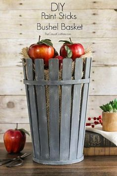 DIY Farmhouse Style Decor Ideas for the Kitchen - DIY Paint Sticks Bushel Basket - Rustic Farm House Ideas for Furniture, Paint Colors, Farm House Decoration for Home Decor in The Kitchen - Wall Art, Rugs, Countertops, Lights and Kitchen Accessories http://diyjoy.com/diy-farmhouse-kitchen