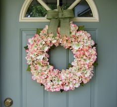 Summer Wreath  Summer Hydrangea Wreath  Summer Door by countryprim
