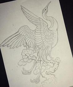 japanese tattoos for men Japanese Tattoo Art, Japanese Sleeve Tattoos, Japanese Art, Sketch Tattoo Design, Tattoo Sketches, Tattoo Designs, Crane Drawing, Tattoo Oriental, Crane Tattoo
