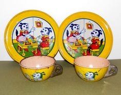 Vtg J Chein Co Tin Litho Toy Tea Set Plates Cups Felix The Cat Made in USA