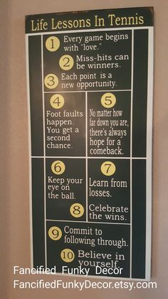 Tennis Decor, Tennis Racquet Wall Art, Inspirational Tennis Sign, Tennis Life Lessons, Locker Room Sign, Sports Themed Signs, Custom