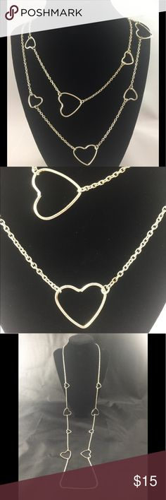 """❤️Vintage Silver Heart Necklace ❤️Vintage Silver Heart Necklace. Very Long- Approx 43"""".  Can double it up.  Perfect for Valentine's Day ❤️ Vintage Jewelry Necklaces"""