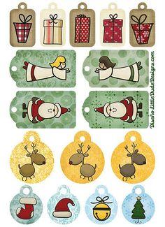 Tarjetas de navidad, etiquetas y pegatinas imprimibles de Little Dude Designs
