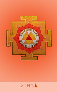 "दुर्गा Goddess of Invincible Courage ""I welcome love"" Mantra: Duṁ Durgāyai Namaḥ Sacred Geometry Art, Sacred Art, Happy Navratri, Sri Yantra, Durga Goddess, Indian Artist, Indian Gods, Yoga, Gods And Goddesses"