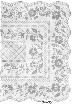Pin by B Nice on filet crochet tablecloths (With images) Filet Crochet Charts, Crochet Doily Patterns, Crochet Designs, Crochet Doilies, Crochet Lace, Crochet Men, Thread Crochet, Crochet Stitches, Folk Embroidery
