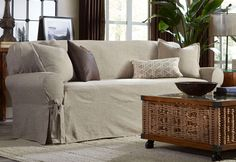 Sure Fit Slipcovers Textured Linen One Piece Slipcovers - Sofa Linen Couch, Sofa Couch, Couch Set, Diy Sofa, Sure Fit Slipcovers, Loveseat Slipcovers, Drop Cloth Slipcover, Dining Room Chair Covers, Couch Covers