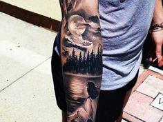 45 inspirierende Wald Tattoo-Ideen - Tattoo Motive - 45 inspirierende Wald Tattoo-Ideen You are in the right place about 4 - Cool Forearm Tattoos, Body Art Tattoos, Girl Tattoos, Tattoos For Guys, Tatoos, Henna Tattoos, Tree Arm Tattoos, Full Moon Tattoos, Sailor Tattoos