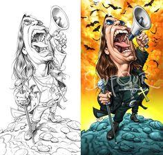 El músico y cantante de Heavy Metal Ozzy Osbourne, caricaturizado por el artista Santiago Dufour.  ...
